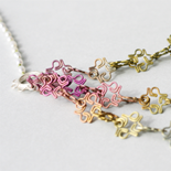 2015 Pink-Green Necklace: Titanium, Pearls, Silk and Silver