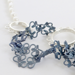 2015 Blue Necklace: Titanium, Silver and Pearls