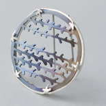 2015 Wild Heather Brooch: Anodized Titanium and Silver